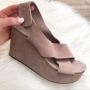 Pedro Garcia Blush Pink Wedge Sandal Sz 38/8